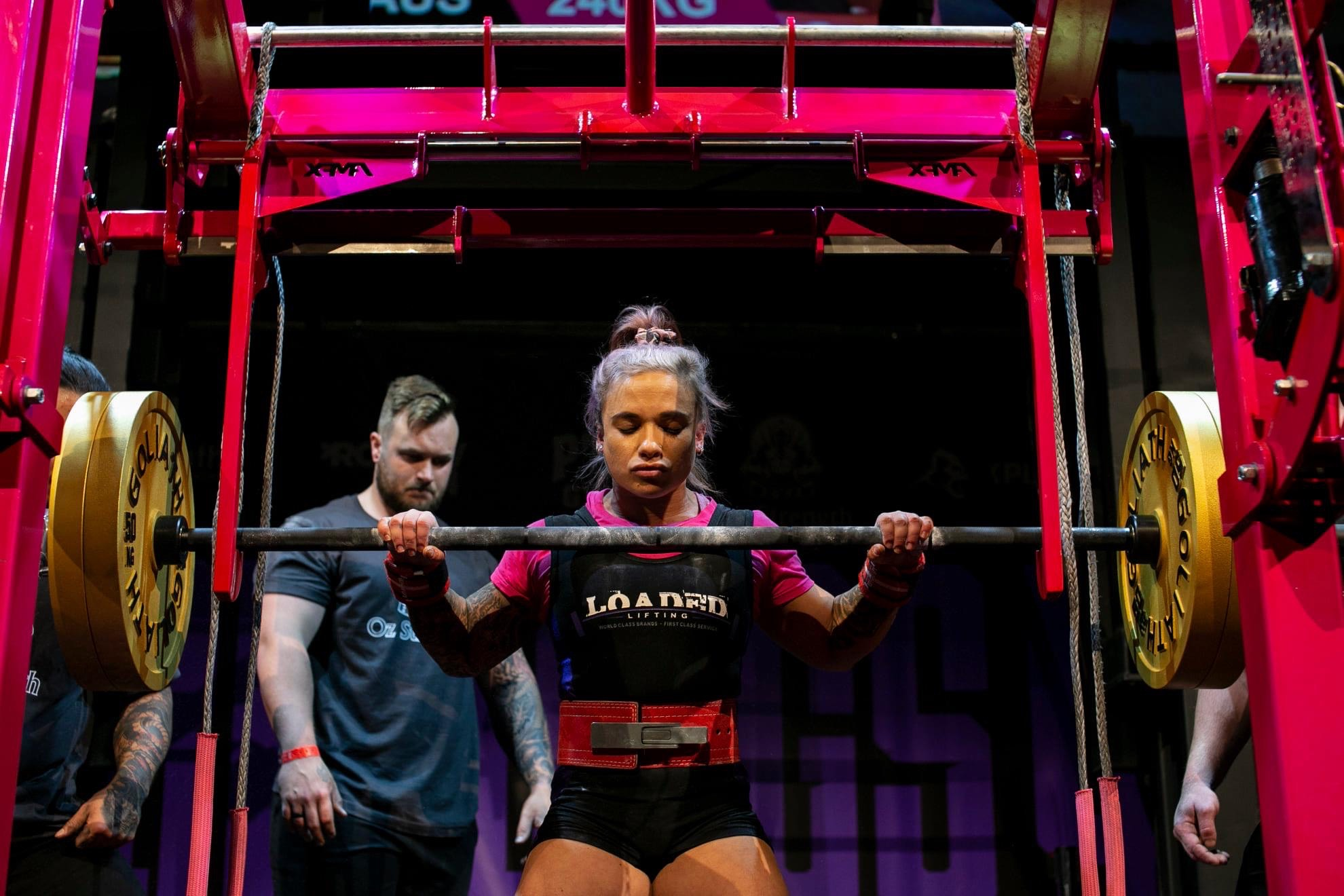 Woman preparing to lift